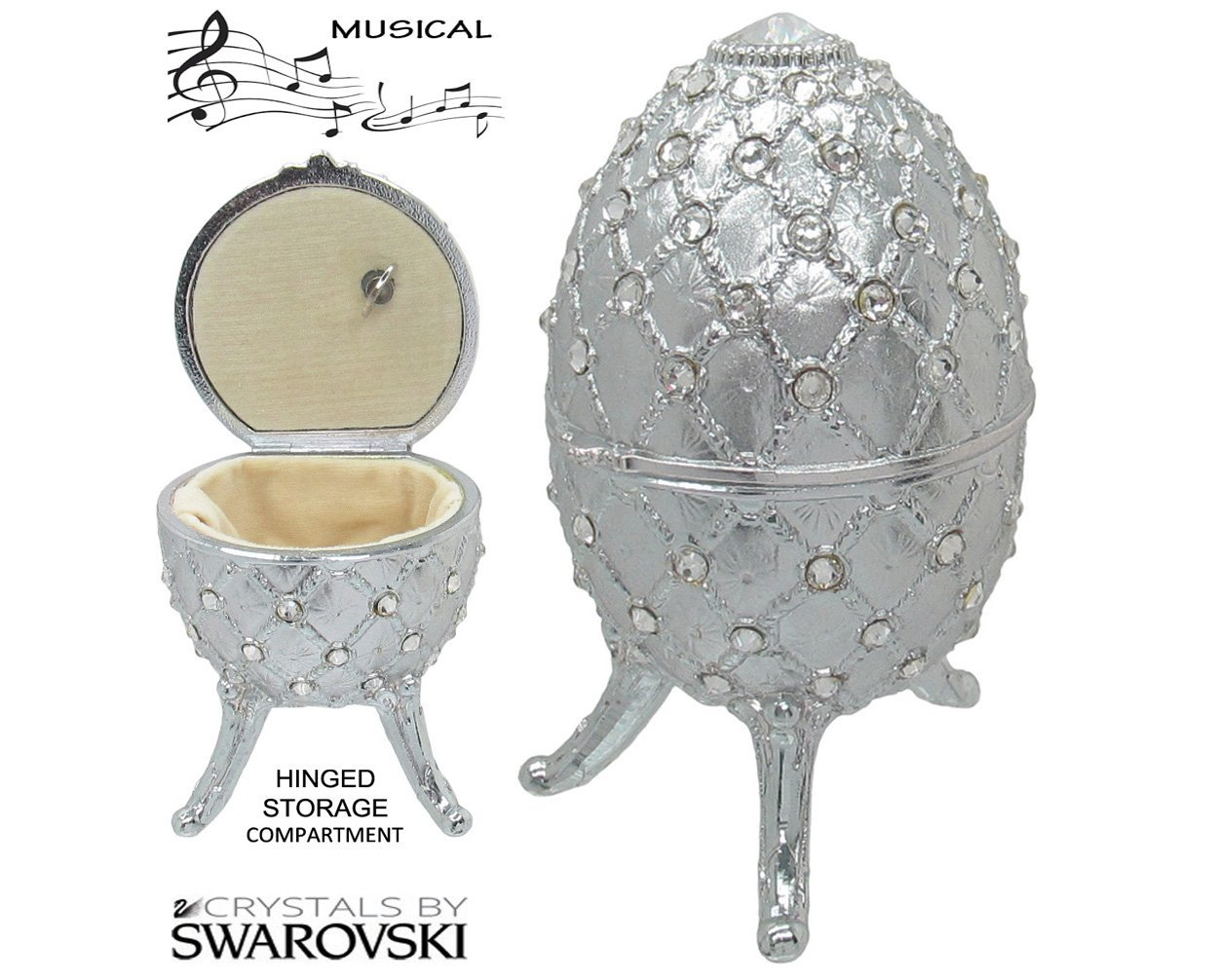 Primary image for Musical Jewelry and Trinket Box with Swarovski Crystals, Platinum
