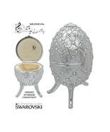 Musical Jewelry and Trinket Box with Swarovski Crystals, Platinum - $199.95