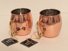 2x HAMMERED ~ MOSCOW MULE ~  GENUINE COPPER PLATED MUG WITH BRASS HANDLE... - $24.18