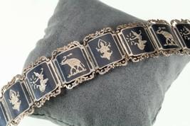 """Vintage Thai Silver Siam Niello Enamel Panel Bracelet 6.50""""  - $147.51"""