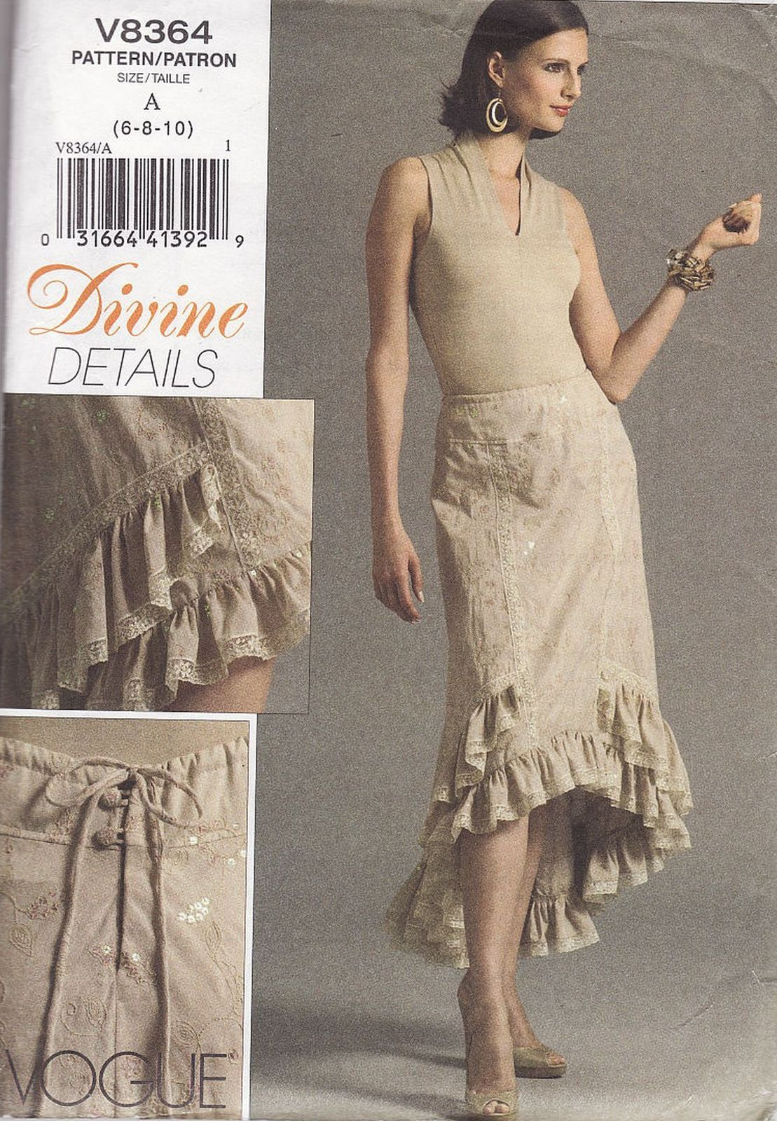 Primary image for Misses Vogue Ruffled Graduated Flared Hem Party Skirt Sew Pattern 6-10