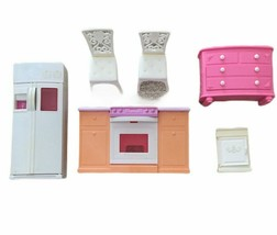 Vintage Lot Barbie Doll Mattel Dollhouse FURNITURE-Fridge Stove Dresser Chairs - $30.46