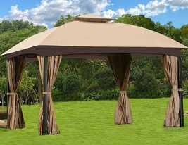 Steel Gazebo Large Canopy Pavilion Screened Heavy Duty 13x10 Vented Mosq... - $356.35