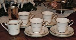13pc NORITAKE IVORY CHINA TRUDY 7087 Tea Cup & Saucer W/ Dessert Plate &... - $59.39