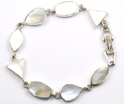 VINTAGE TRIANGLE OVAL SHAPED LINKS ABALONE BRACELET 925 STERLING BR 93 - $34.99