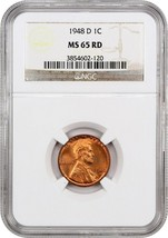 1948-D 1c NGC MS65 RD - Lincoln Cent - $24.25