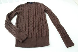 W9277 Womens Gap Chocolate Brown Angora Cable Knit Sweater Crewneck Small - $14.50