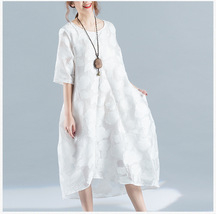Summer Plus Size Dress White Floral Oversized Loose Tunic Dress crop sleeve NWT