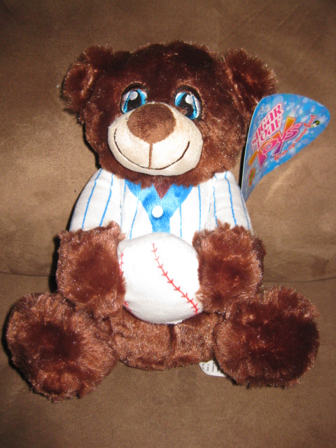 "Primary image for BASEBALL BEAR BRAND NEW PLUSH NWT Stuffed Animal w Tags 10"" SUGAR LOAF TOYS 2015"