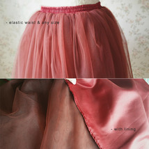 BURGUNDY Midi Tulle Skirt Womens High Waisted Burgundy Wine Red Tulle Skirts   image 4
