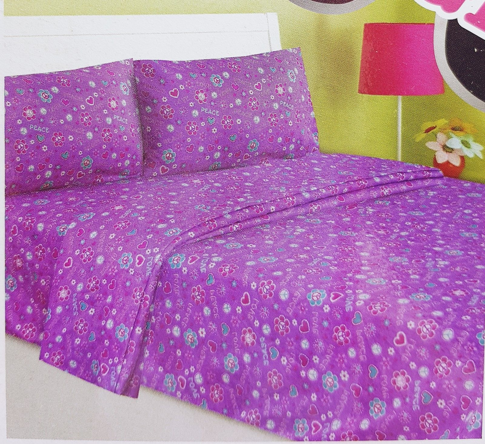 girls twin sheet set pink purple hearts love and 50 similar items. Black Bedroom Furniture Sets. Home Design Ideas