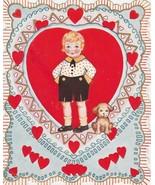 Vintage Valentine Card Boy with Dog Girl Picks Flower Petals 1920s - $7.91