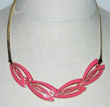 VTG TRIFARI Modernist Abstract Art Deco Gold Tone Pink Colored Enamel Ch... - $79.20