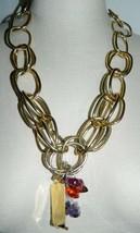 IMAN CN signed Heavy Gold Tone Amethyst Gemstone Lucite Beads Pendant Ne... - $49.49