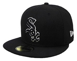 Era 59fifty Hat Chicago White Sox Black White Cap Men's Sizes 7 1/4 - $39.53