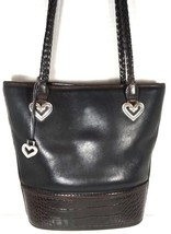Brighton Vintage Black with Brown Reptile Print Trim Bucket Bag - $41.70
