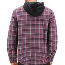 Tony Hawk Men's Casual Flannel Zip Up Plaid Sherpa Hoodie Lightweight Jacket image 3