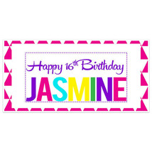 Colors Text Sweet Sixteen 16 Birthday Banner Personalized Custom Party B... - $22.28+
