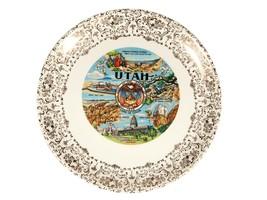 Vintage Utah Souvenir Plate - State Dish with Decorative Rim - $9.50