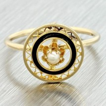 1890 Antique Victorian 14k Yellow Gold Enamel Pearl Filigree Conversion ... - $177.38