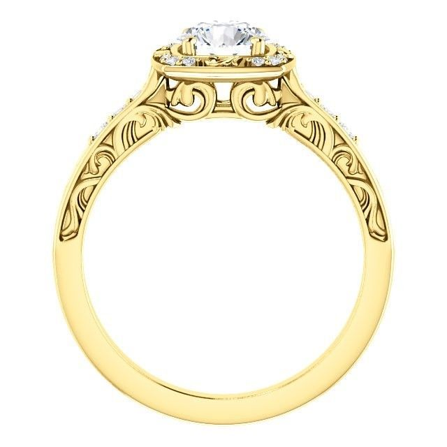 1.00 Carat Ideal Cut Diamond Solitaire Halo Ring in 14k Gold