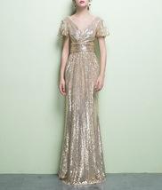 BLACK Sleeved High Waist Maxi Sequin Dress Floor Length Sequin Wedding Dresses image 11