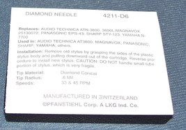 TURNTABLE DIAMOND STYLUS NEEDLE for Audio Technica ATN91 ATN-91 211-D6 4211-D6 image 2