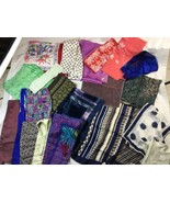 VTG Contemporary Used LOT of 20+ SILK And Poly Long Square Rectangle Scarfs - $37.39