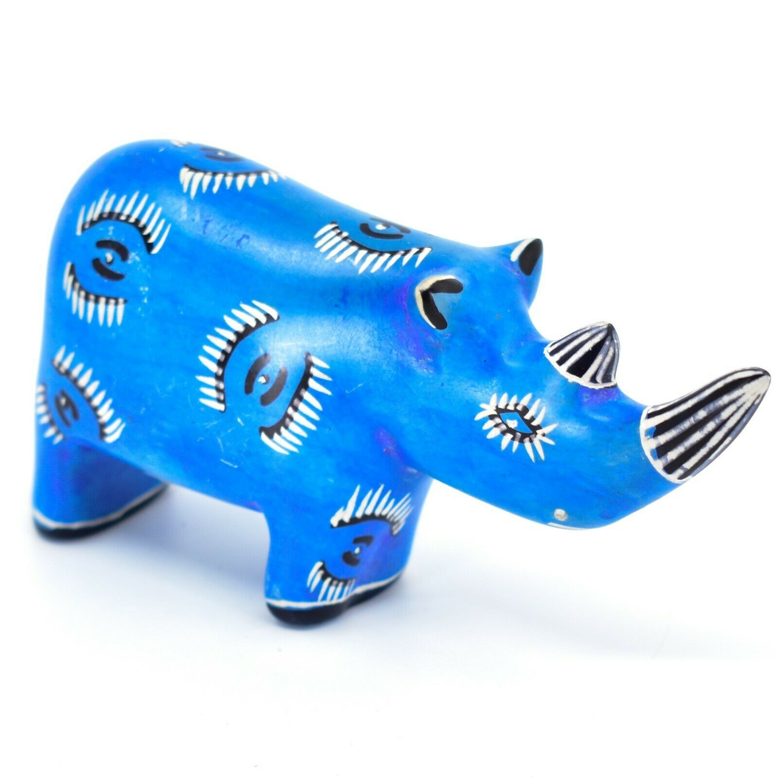 Hand Carved Kenyan Kisii Soapstone Kifaru Blue Rhinoceros Rhino Figurine