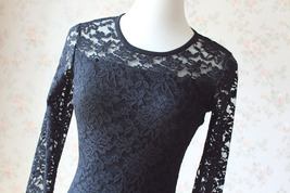 Women's Retro Floral Lace Long Sleeve Fitted Midi Cocktail Party Dress NWT image 5
