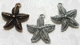 STAR FISH FINE PEWTER PENDANT CHARM - 18mm L x 20.5mm W x 4.5mm D image 1