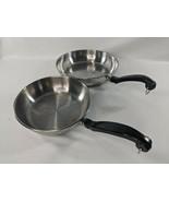 "Lot of 2 Farberware Stainless Steel Pans 10"" & 8"" Hangable Impact Bonded - $53.08"