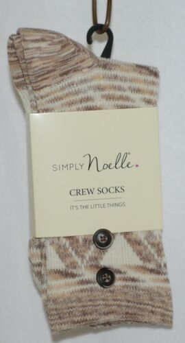 Simply Noelle Cream Chocolate And Tan Crew Sock One Size Fits Most