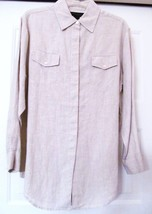 Express World Brand Wash Linen Shirt Top Blouse Chest Pockets Oatmeal S ... - $27.95