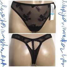 Felina Black Sheer Embroidered Alexa Thong Panty 146P S NWT - $14.95