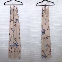 Lush Small Surplice Maxi Dress Peach Pink Floral Summer Cocktail Neck Si... - $32.55