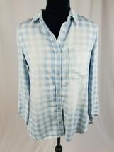 Cloth & Stone women S chambray hi-low check 3/4 sleeve shirt - $24.75