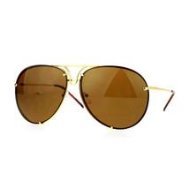 Oversized Round Aviator Sunglasses Metal Rims Behind Lens Spring Hinge - $13.81+