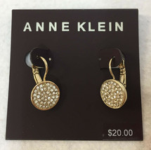 Anne Klein Earrings Pave Rhinestones Gold Tone Metal Round Lever back Set - $17.81