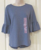 Adrianna Papell Ruffle Sleeve Top Heather Chambray Women's Sz. L Nwt MSRP$49 - $23.01