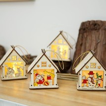 Mini Wooden House With Lights For Christmas Model Hanging Decorations At... - $6.99