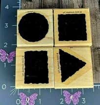 Stampin Up! Rubber Stamp 2000 Set 4 Shapes Square Triangle Rectangle Cir... - $3.22