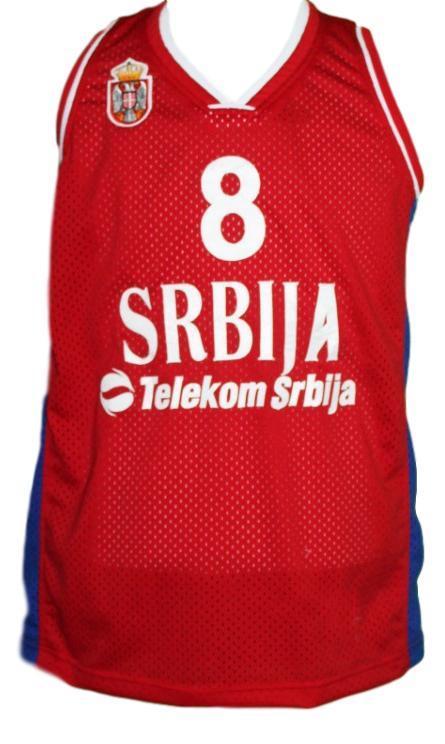 Nemanja bjelica  8 serbia basketball jersey red   1