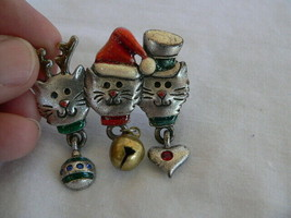 Vintage AJMC signed Christmas Holiday Cats Pewter Brooch Pin. heart bell... - $5.15