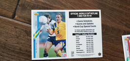 1994 UPPER DECK WORLD CUP RARE HOTLINE SCHEDULE CARD JAN ERIKSSON SWEDEN... - $34.99