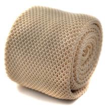 Frederick Thomas skinny plain ivory cream knitted tie FT269