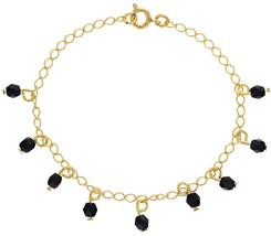 18k Gold Plated Black Simulated Azabache Charm Evil Eye Protection Brace... - $24.57