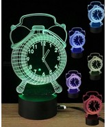 Mini Rechargeable 3D Alarm Clock Pattern Illusion Lamp,Optical LED Night Light  - $29.99