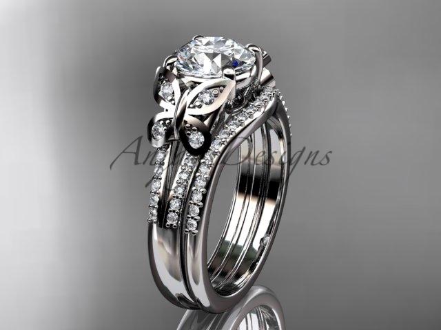 Moissanite Butterfly 14kt ring white gold diamond wedding ring set ADLR514S  - $2,595.00