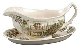 Johnson Brothers MERRY CHRISTMAS Gravy Boat & Underplate MADE IN ENGLAND - $138.59